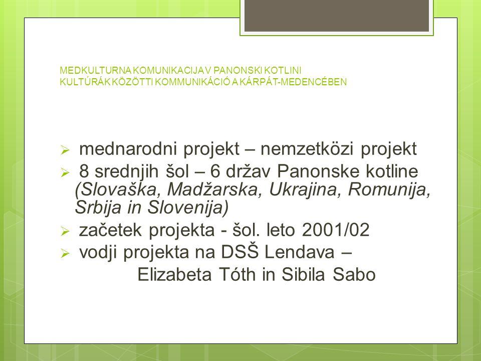  mednarodni projekt – nemzetközi projekt  8 srednjih šol – 6 držav Panonske kotline (Slovaška, Madžarska, Ukrajina, Romunija, Srbija in Slovenija) 