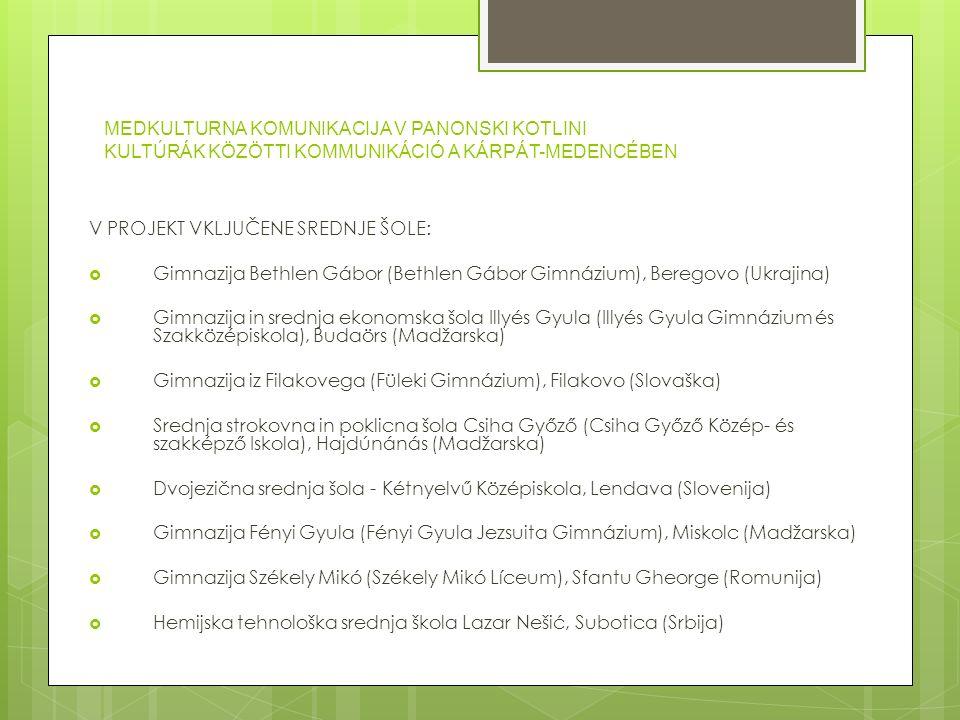 MEDKULTURNA KOMUNIKACIJA V PANONSKI KOTLINI KULTÚRÁK KÖZÖTTI KOMMUNIKÁCIÓ A KÁRPÁT-MEDENCÉBEN Zgodovina – történelem: Gostitelji mednarodnega projekta v šolskem letu 2007/2008:  Gimnazija Bethlen Gábor, Beregovo (Ukrajina), od 06.