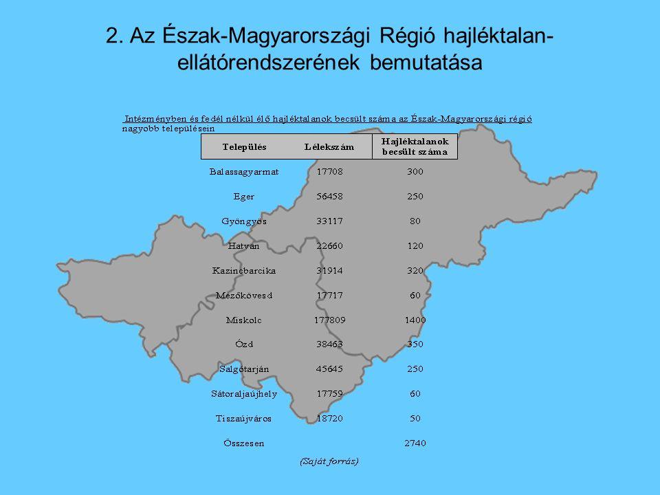 2. Az Észak-Magyarországi Régió hajléktalan- ellátórendszerének bemutatása