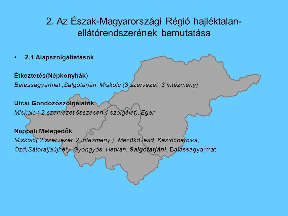 2. Az Észak-Magyarországi Régió hajléktalan- ellátórendszerének bemutatása 2.1 Alapszolgáltatások Étkeztetés(Népkonyhák) Balassagyarmat,Salgótarján, M