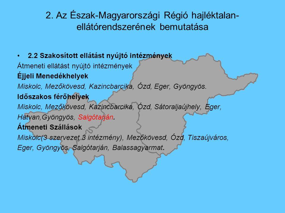 2. Az Észak-Magyarországi Régió hajléktalan- ellátórendszerének bemutatása 2.2 Szakosított ellátást nyújtó intézmények Átmeneti ellátást nyújtó intézm