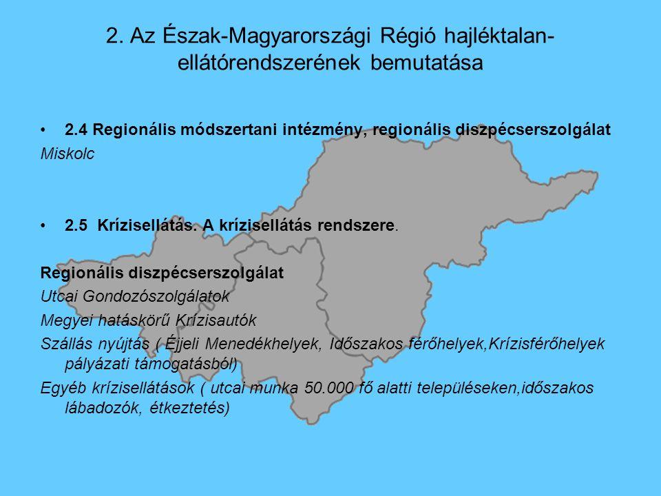 2. Az Észak-Magyarországi Régió hajléktalan- ellátórendszerének bemutatása 2.4 Regionális módszertani intézmény, regionális diszpécserszolgálat Miskol