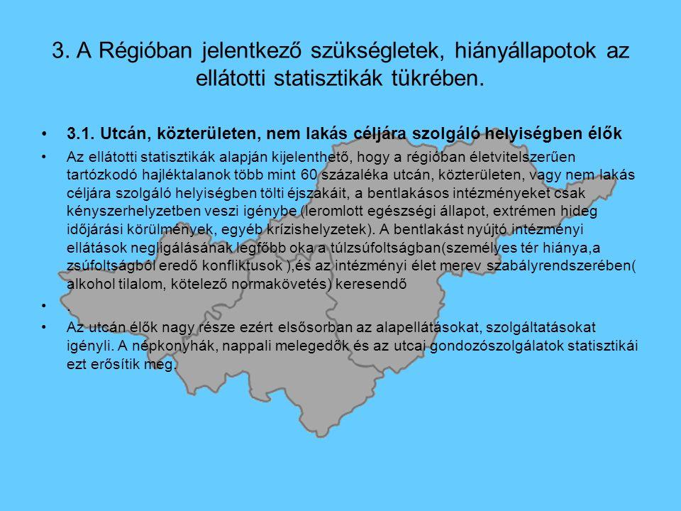 3. A Régióban jelentkező szükségletek, hiányállapotok az ellátotti statisztikák tükrében.