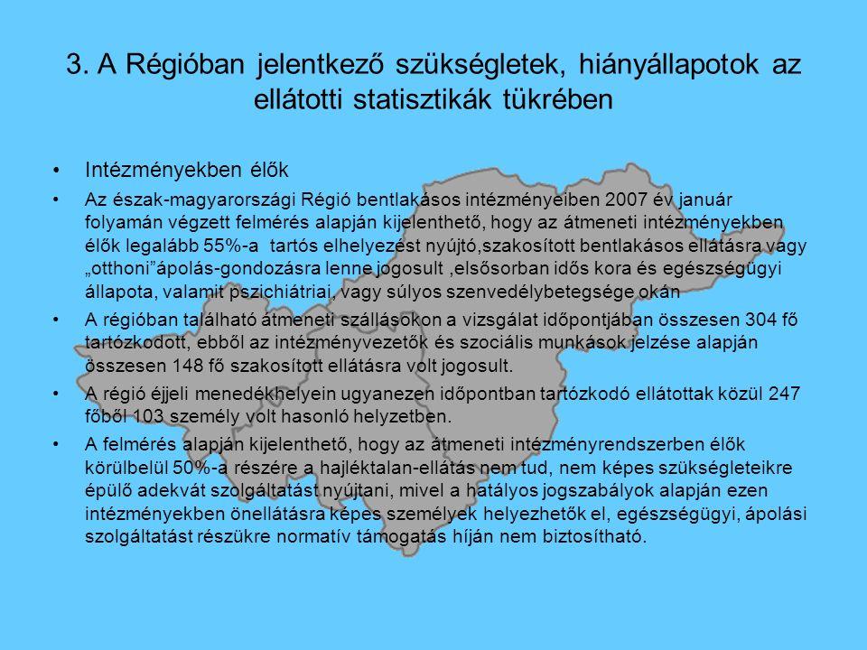 3. A Régióban jelentkező szükségletek, hiányállapotok az ellátotti statisztikák tükrében Intézményekben élők Az észak-magyarországi Régió bentlakásos