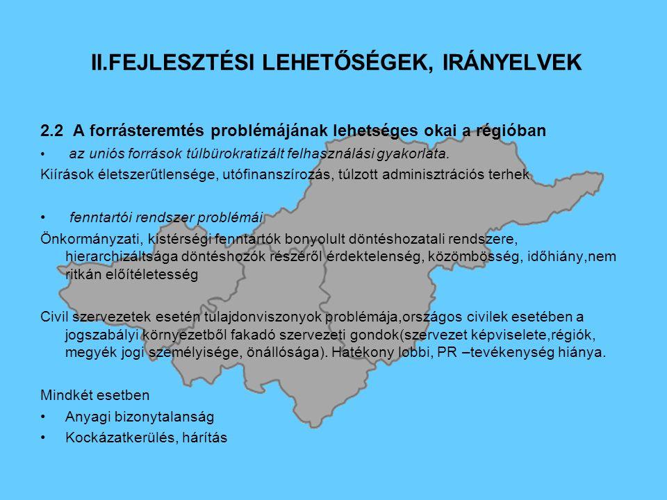 II.FEJLESZTÉSI LEHETŐSÉGEK, IRÁNYELVEK 2.2 A forrásteremtés problémájának lehetséges okai a régióban az uniós források túlbürokratizált felhasználási gyakorlata.