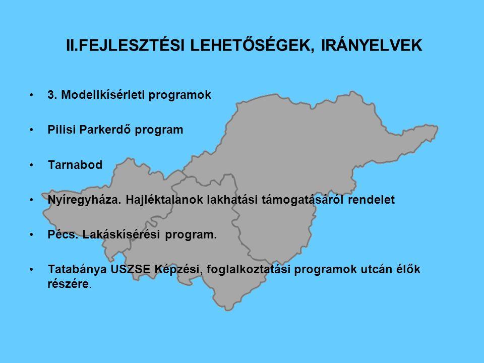 II.FEJLESZTÉSI LEHETŐSÉGEK, IRÁNYELVEK 3.