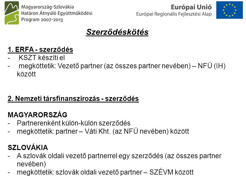 Szerződéskötés 1. ERFA - szerződés - KSZT készíti el - megköttetik: Vezető partner (az összes partner nevében) – NFÜ (IH) között 2. Nemzeti társfinans