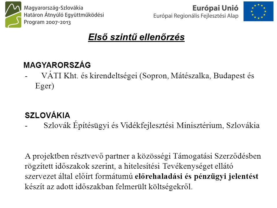 Első szintű ellenőrzés MAGYARORSZÁG - VÁTI Kht. és kirendeltségei (Sopron, Mátészalka, Budapest és Eger) SZLOVÁKIA - Szlovák Építésügyi és Vidékfejles
