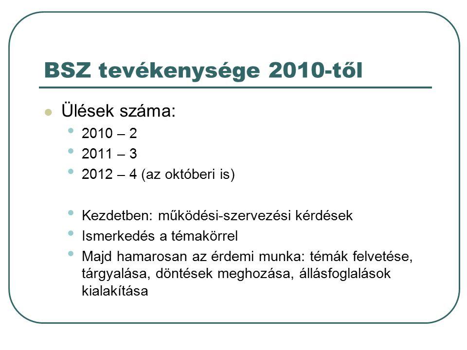 BSZ tevékenysége 2010-től Ülések száma: 2010 – 2 2011 – 3 2012 – 4 (az októberi is) Kezdetben: működési-szervezési kérdések Ismerkedés a témakörrel Majd hamarosan az érdemi munka: témák felvetése, tárgyalása, döntések meghozása, állásfoglalások kialakítása