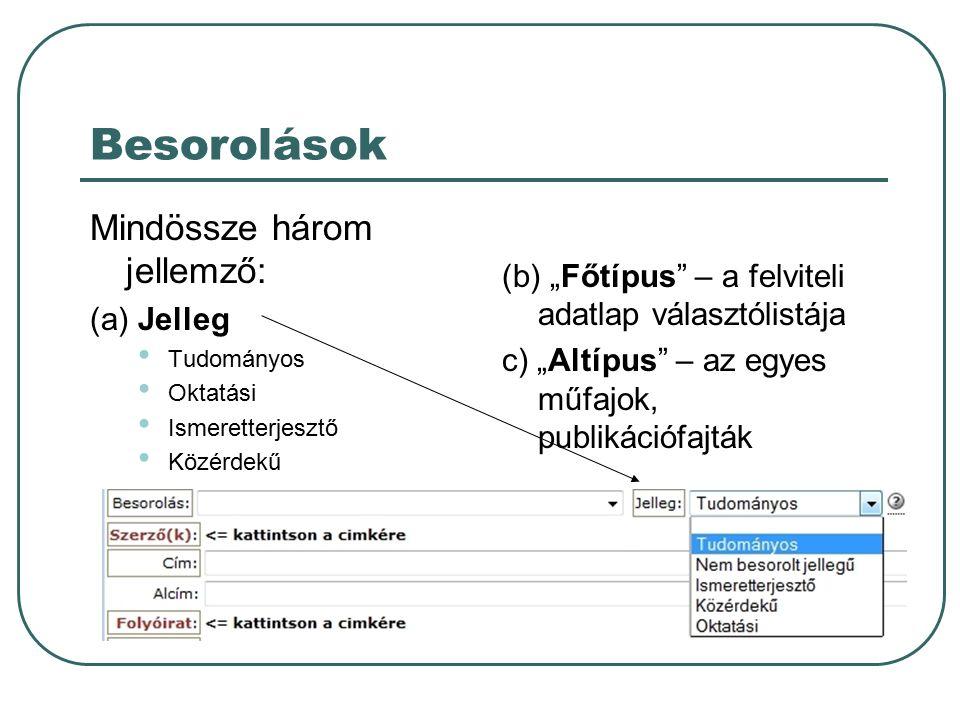 """Besorolások Mindössze három jellemző: (a) Jelleg Tudományos Oktatási Ismeretterjesztő Közérdekű (b) """"Főtípus – a felviteli adatlap választólistája c) """"Altípus – az egyes műfajok, publikációfajták"""
