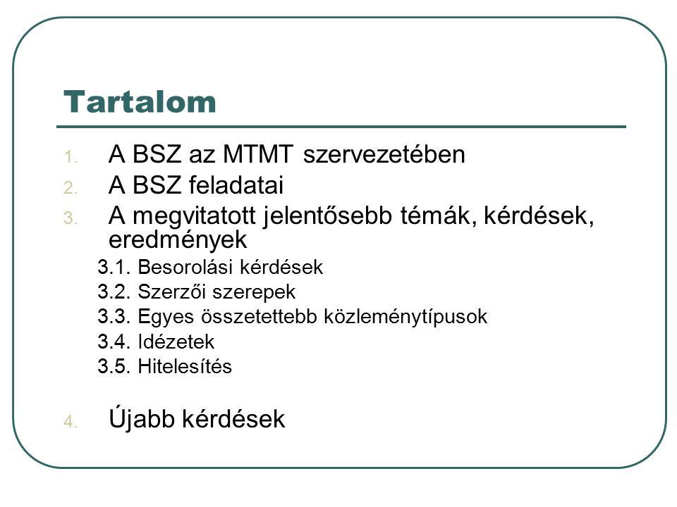 Tartalom 1. A BSZ az MTMT szervezetében 2. A BSZ feladatai 3.