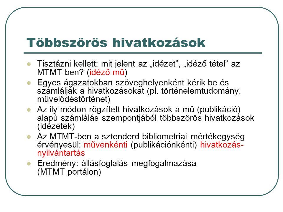 """Többszörös hivatkozások Tisztázni kellett: mit jelent az """"idézet , """"idéző tétel az MTMT-ben."""