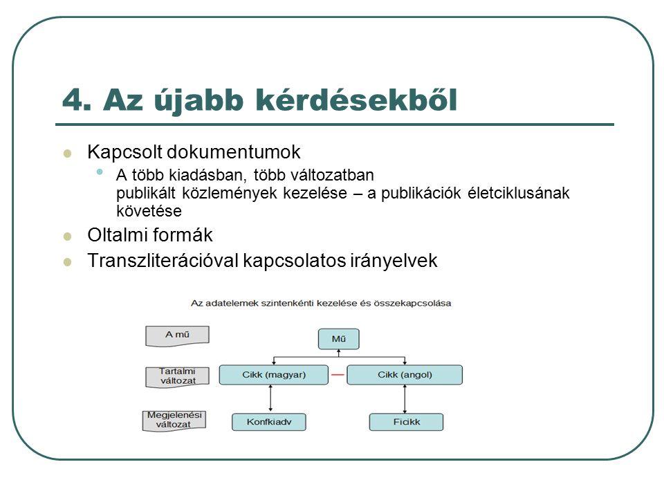4. Az újabb kérdésekből Kapcsolt dokumentumok A több kiadásban, több változatban publikált közlemények kezelése – a publikációk életciklusának követés
