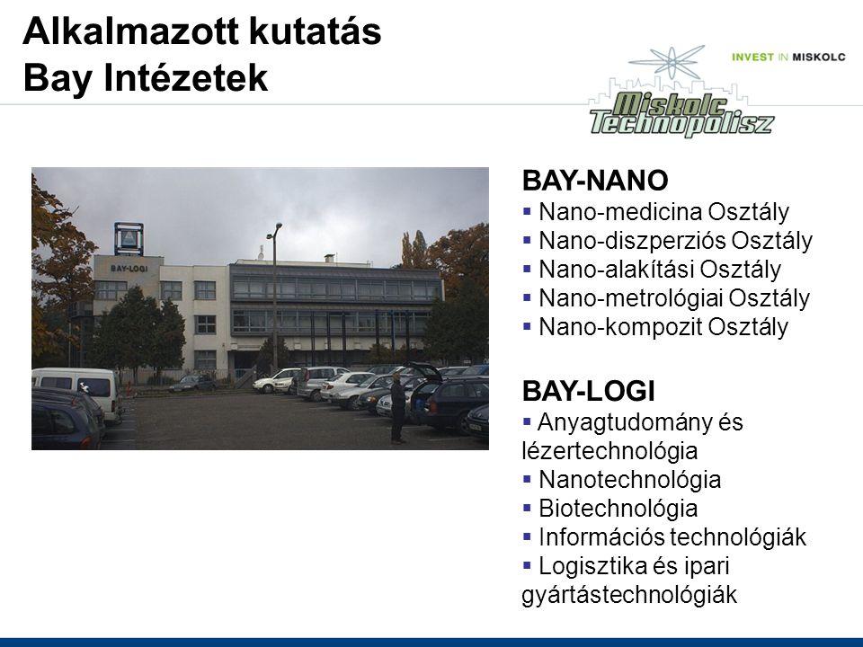 BAY-NANO  Nano-medicina Osztály  Nano-diszperziós Osztály  Nano-alakítási Osztály  Nano-metrológiai Osztály  Nano-kompozit Osztály BAY-LOGI  Anyagtudomány és lézertechnológia  Nanotechnológia  Biotechnológia  Információs technológiák  Logisztika és ipari gyártástechnológiák Alkalmazott kutatás Bay Intézetek