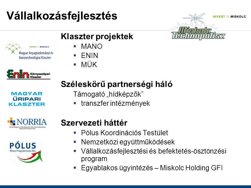 """Klaszter projektek  MANO  ENIN  MÜK Széleskörű partnerségi háló Támogató """"hídképzők  transzfer intézmények Szervezeti háttér  Pólus Koordinációs Testület  Nemzetközi együttműködések  Vállalkozásfejlesztési és befektetés-ösztönzési program  Egyablakos ügyintézés – Miskolc Holding GFI Vállalkozásfejlesztés"""