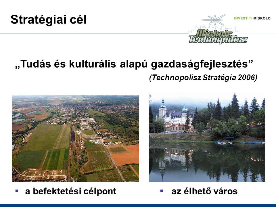 """ a befektetési célpont  az élhető város """"Tudás és kulturális alapú gazdaságfejlesztés (Technopolisz Stratégia 2006) Stratégiai cél"""