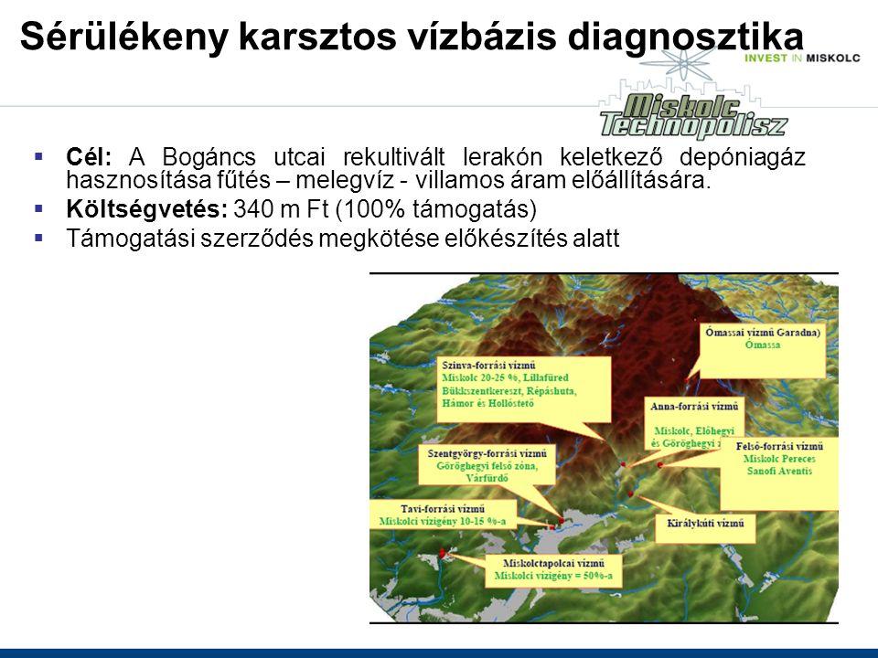 Sérülékeny karsztos vízbázis diagnosztika  Cél: A Bogáncs utcai rekultivált lerakón keletkező depóniagáz hasznosítása fűtés – melegvíz - villamos áram előállítására.