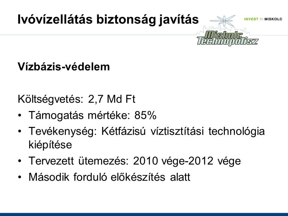 Ivóvízellátás biztonság javítás Vízbázis-védelem Költségvetés: 2,7 Md Ft Támogatás mértéke: 85% Tevékenység: Kétfázisú víztisztítási technológia kiépítése Tervezett ütemezés: 2010 vége-2012 vége Második forduló előkészítés alatt