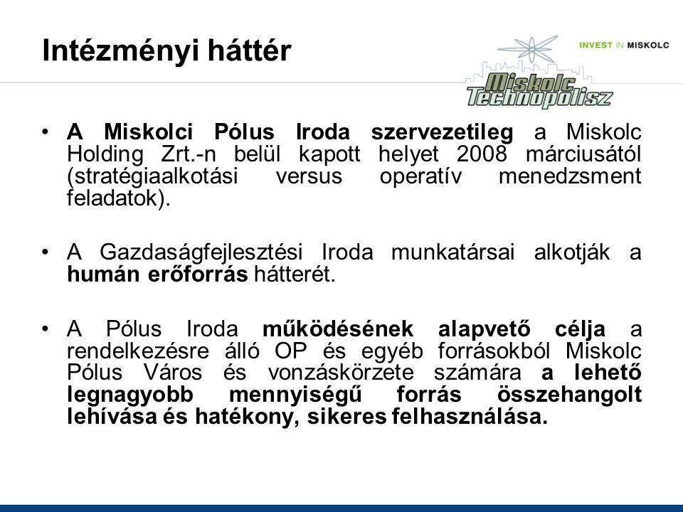 Intézményi háttér A Miskolci Pólus Iroda szervezetileg a Miskolc Holding Zrt.-n belül kapott helyet 2008 márciusától (stratégiaalkotási versus operatív menedzsment feladatok).