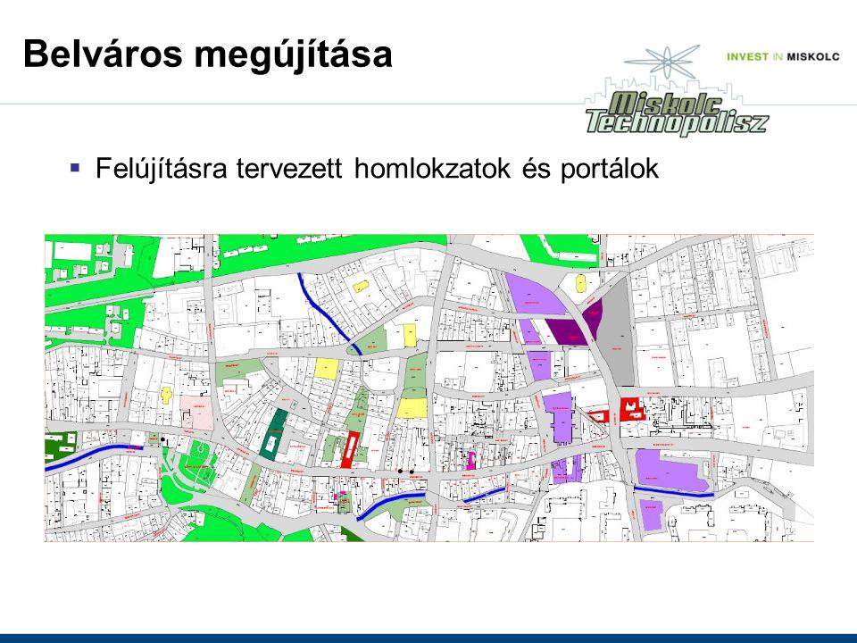 Belváros megújítása  Felújításra tervezett homlokzatok és portálok