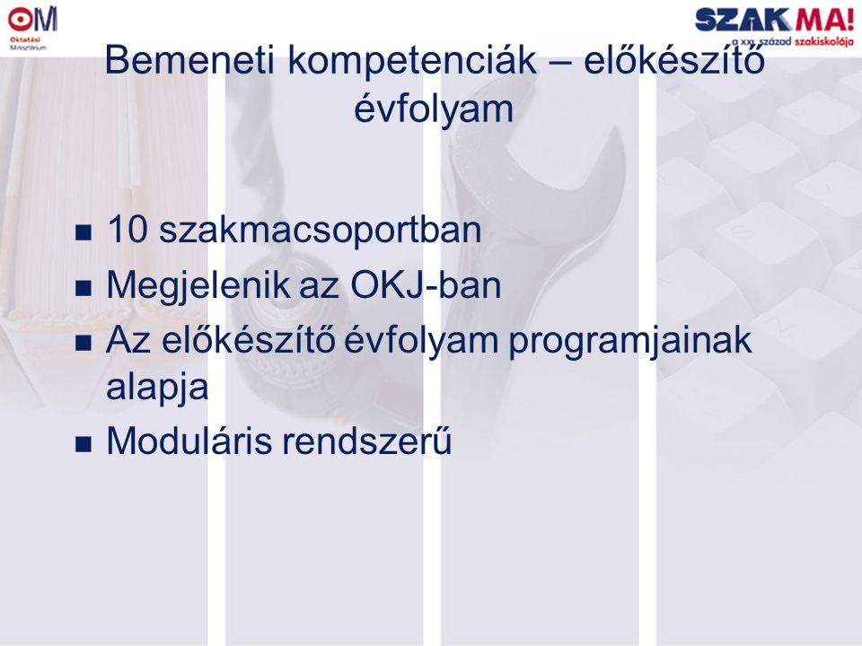 Bemeneti kompetenciák – előkészítő évfolyam n 10 szakmacsoportban n Megjelenik az OKJ-ban n Az előkészítő évfolyam programjainak alapja n Moduláris re