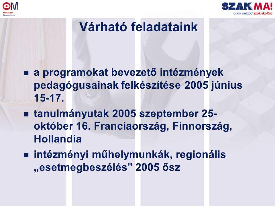 Várható feladataink n a programokat bevezető intézmények pedagógusainak felkészítése 2005 június 15-17. n tanulmányutak 2005 szeptember 25- október 16