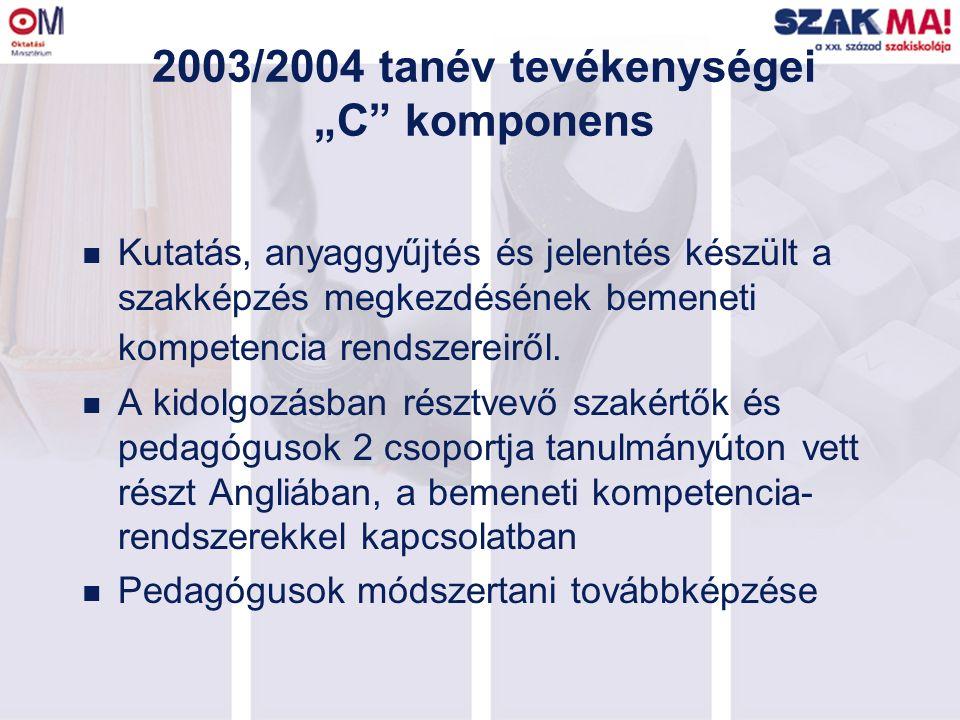 """2003/2004 tanév tevékenységei """"C"""" komponens n Kutatás, anyaggyűjtés és jelentés készült a szakképzés megkezdésének bemeneti kompetencia rendszereiről."""