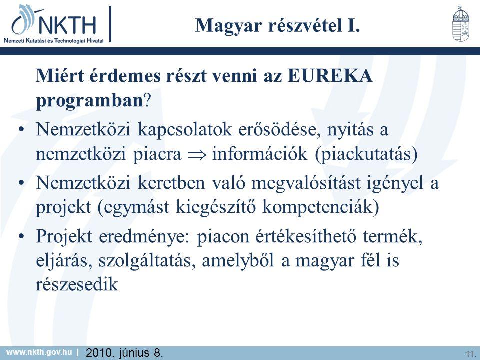 www.nkth.gov.hu | 11. 2010. június 8. Magyar részvétel I.