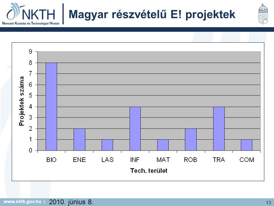 www.nkth.gov.hu | 13. 2010. június 8. Magyar részvételű E! projektek