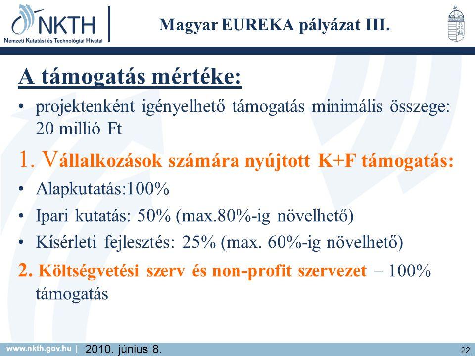 www.nkth.gov.hu | 22. 2010. június 8. Magyar EUREKA pályázat III.