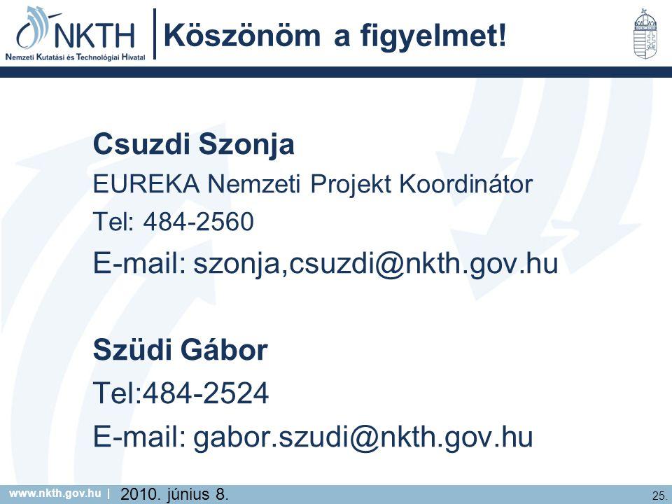 www.nkth.gov.hu | 25. 2010. június 8. Köszönöm a figyelmet.