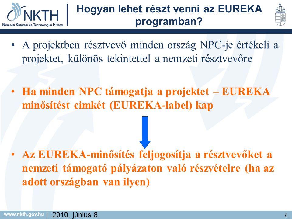 www.nkth.gov.hu | 9. 2010. június 8. Hogyan lehet részt venni az EUREKA programban.