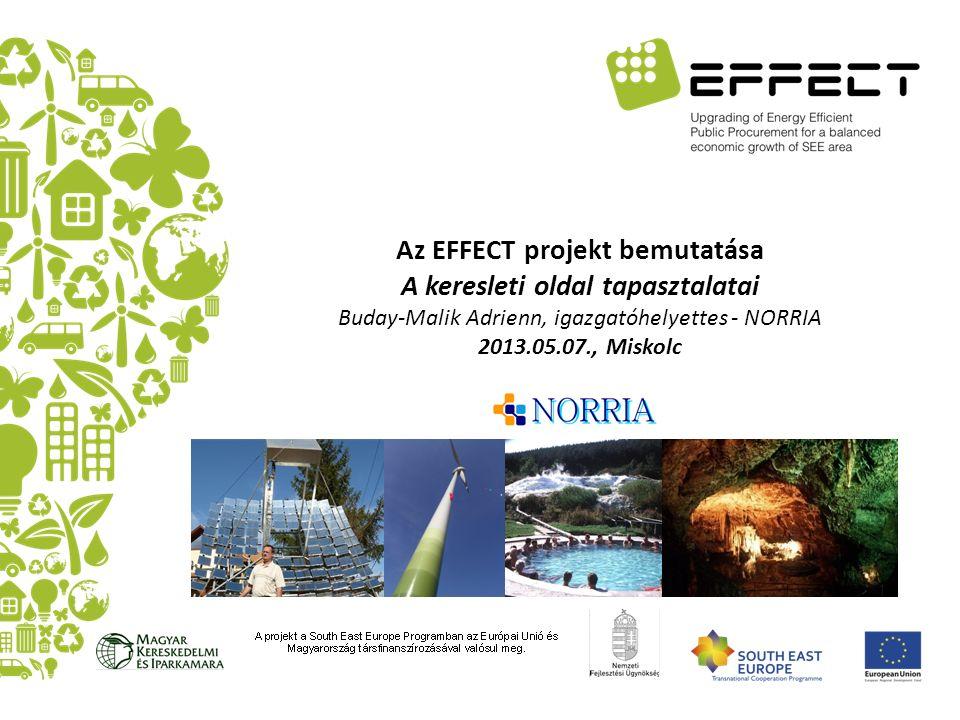 Az EFFECT projekt bemutatása A keresleti oldal tapasztalatai Buday-Malik Adrienn, igazgatóhelyettes - NORRIA 2013.05.07., Miskolc
