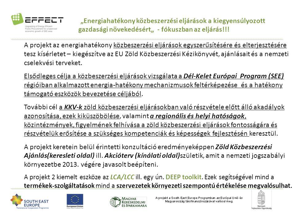 """AZ EFFECT PROJEKT: """"ENERGIA-HATÉKONY KÖZBESZERZÉSI ELJÁRÁSOK A KIEGYENSÚLYOZOTT GAZDASÁGI NÖVEKEDÉSÉRT A SEE RÉGIÓBAN"""" Ajánlatkérők Regionális hatóságok és transzfer- szervezetek Ajánlattevők WP3 – Az EEPP eljárások keresleti és kínálati oldalának SWOT elemzése WP4 – az energiahatékony közbeszerzés(EEPP) keresleti oldali szereplőinek képzése WP5 – A kínálati oldal képzése, az EEPP eszközeinek megismertetése WP6 – demonstráció, általános szemléletformálás és disszemináció (NORRIA)"""
