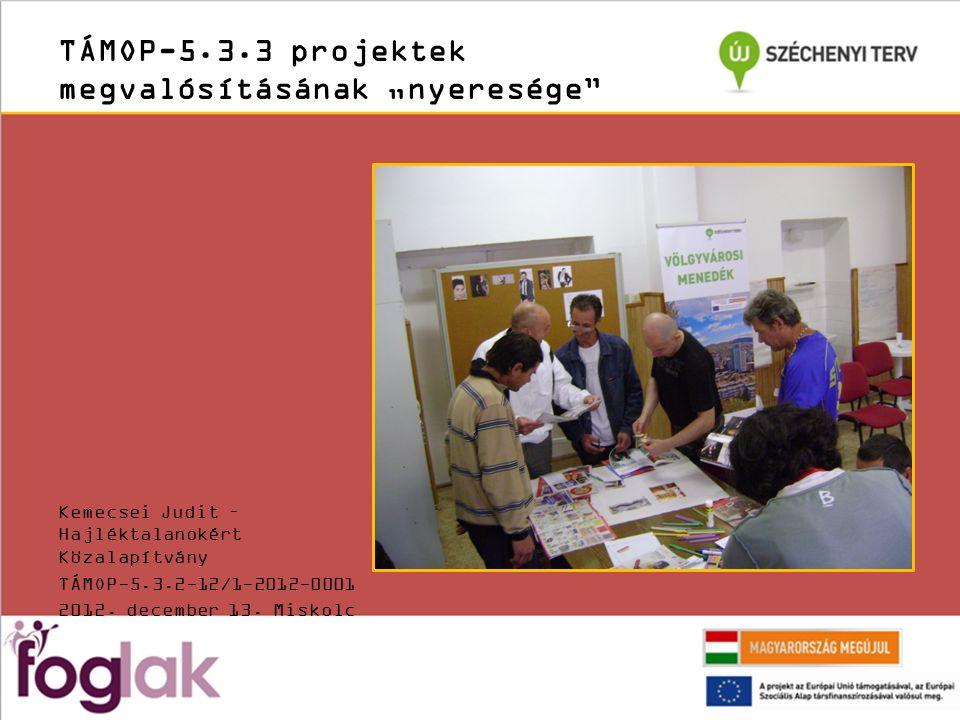 """TÁMOP-5.3.3 projektek megvalósításának """"nyeresége Kemecsei Judit – Hajléktalanokért Közalapítvány TÁMOP-5.3.2-12/1-2012-0001 2012."""