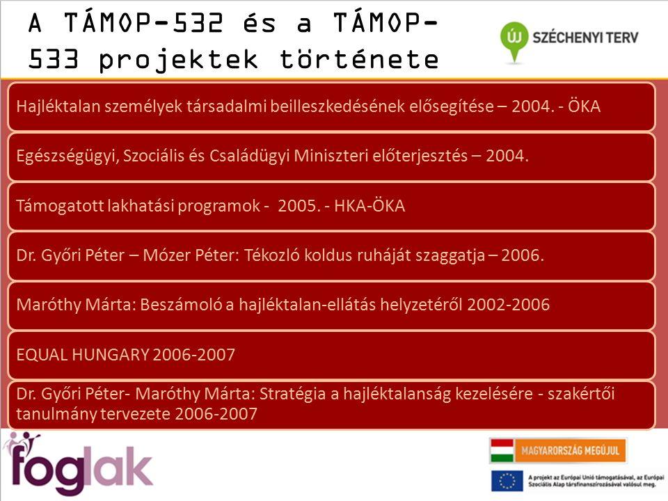A TÁMOP-532 és a TÁMOP- 533 projektek története Hajléktalan személyek társadalmi beilleszkedésének elősegítése – 2004.