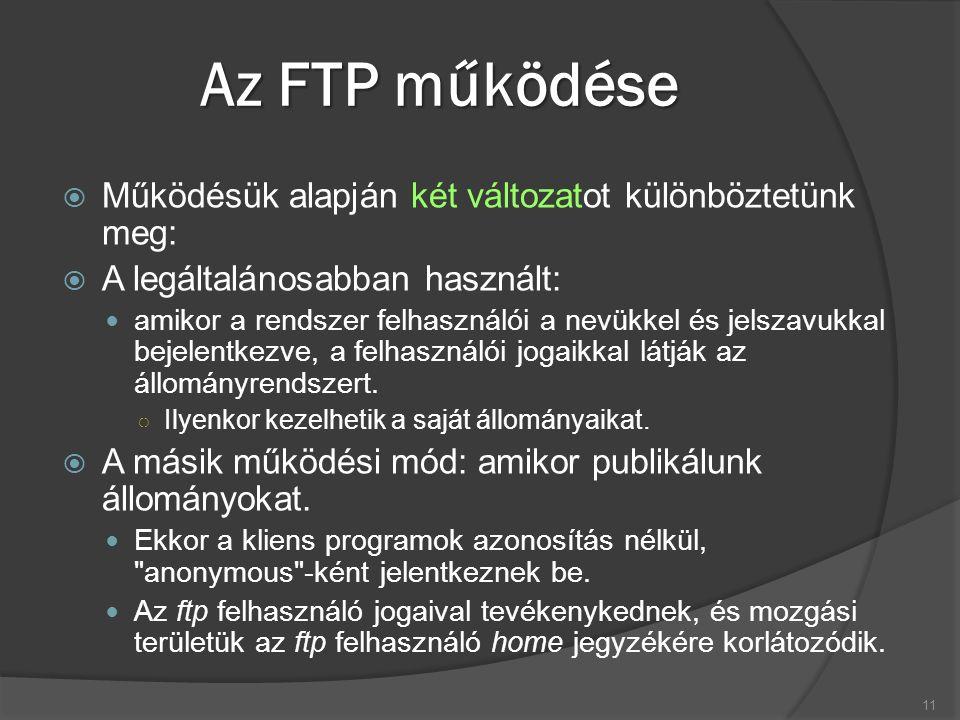 Az FTP működése  Működésük alapján két változatot különböztetünk meg:  A legáltalánosabban használt: amikor a rendszer felhasználói a nevükkel és je