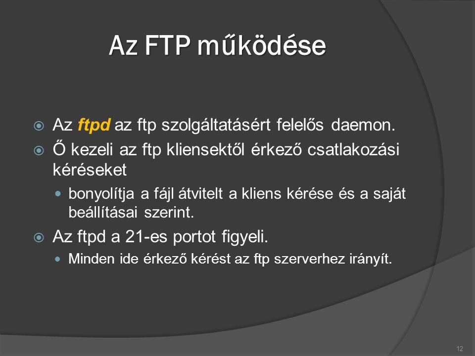 Az FTP működése  Az ftpd az ftp szolgáltatásért felelős daemon.  Ő kezeli az ftp kliensektől érkező csatlakozási kéréseket bonyolítja a fájl átvitel