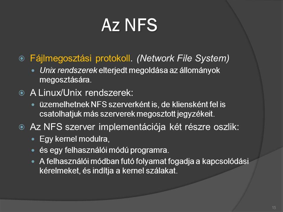 Az NFS  Fájlmegosztási protokoll. (Network File System) Unix rendszerek elterjedt megoldása az állományok megosztására.  A Linux/Unix rendszerek: üz