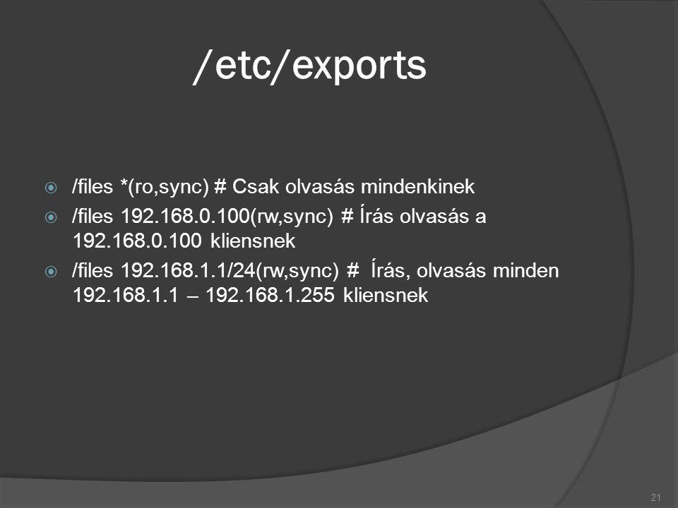 /etc/exports  /files *(ro,sync) # Csak olvasás mindenkinek  /files 192.168.0.100(rw,sync) # Írás olvasás a 192.168.0.100 kliensnek  /files 192.168.