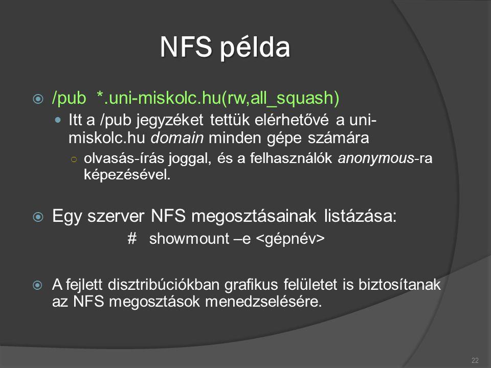 NFS példa  /pub *.uni-miskolc.hu(rw,all_squash) Itt a /pub jegyzéket tettük elérhetővé a uni- miskolc.hu domain minden gépe számára ○ olvasás-írás jo
