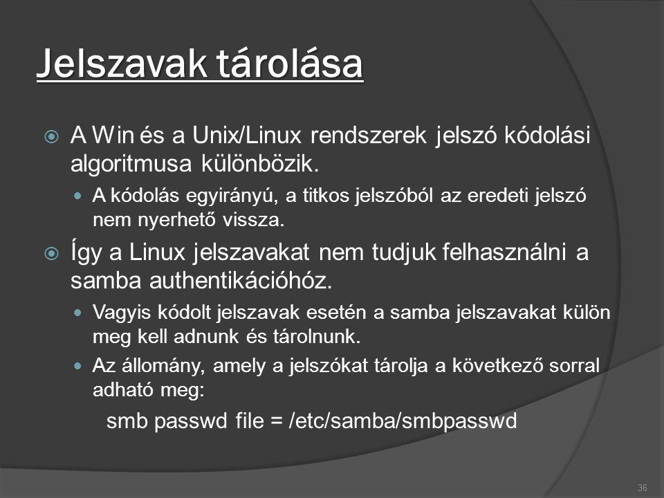 Jelszavak tárolása  A Win és a Unix/Linux rendszerek jelszó kódolási algoritmusa különbözik. A kódolás egyirányú, a titkos jelszóból az eredeti jelsz
