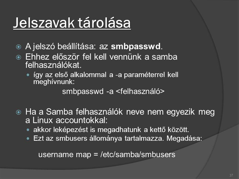 Jelszavak tárolása  A jelszó beállítása: az smbpasswd.  Ehhez először fel kell vennünk a samba felhasználókat. így az első alkalommal a -a paraméter