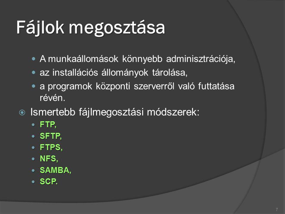 Fájlok megosztása A munkaállomások könnyebb adminisztrációja, az installációs állományok tárolása, a programok központi szerverről való futtatása révé