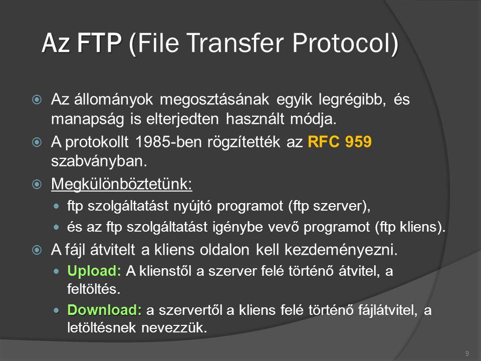 Az FTP () Az FTP (File Transfer Protocol)  Az állományok megosztásának egyik legrégibb, és manapság is elterjedten használt módja.  A protokollt 198