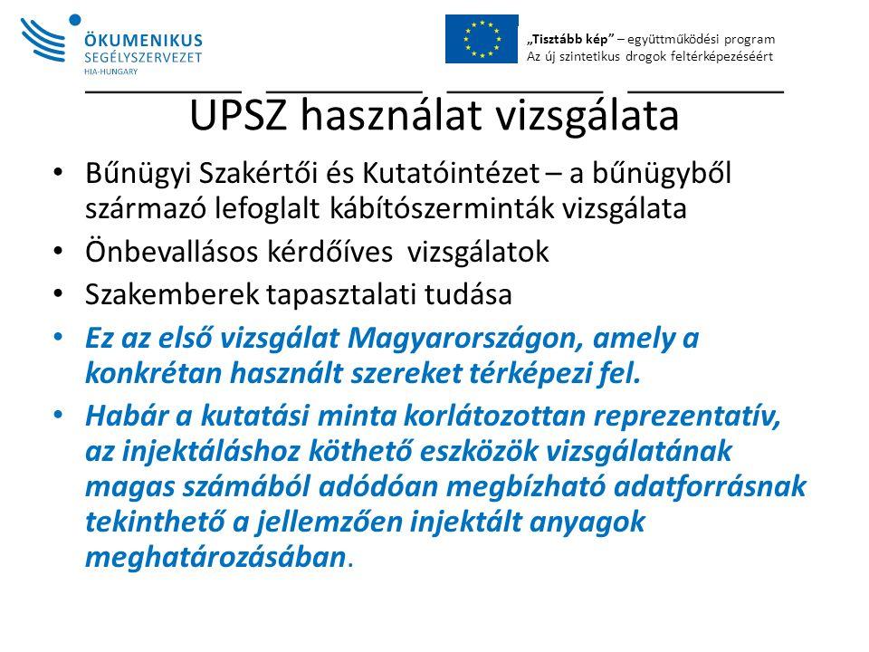 """""""Tisztább kép – együttműködési program Az új szintetikus drogok feltérképezéséért UPSZ használat vizsgálata Bűnügyi Szakértői és Kutatóintézet – a bűnügyből származó lefoglalt kábítószerminták vizsgálata Önbevallásos kérdőíves vizsgálatok Szakemberek tapasztalati tudása Ez az első vizsgálat Magyarországon, amely a konkrétan használt szereket térképezi fel."""