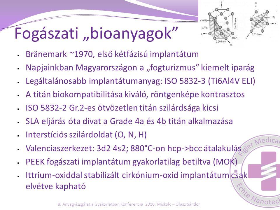 Alapvető anyagvizsgálati és validálási folymatok STF: Összeszerelt keresztcsiszolat készítése Biológiai zárás mikroszkópos vizsgálata Összehasonlító mérések dokumentálása Méretezés ellenőrzése (okklúziós terhelésre) ISO 5832-es anyagok esetén műbizonylatból: R p0,2 és A Fárasztó vizsgálat (ISO 14801) - drága és nem kötelező Bioszennyezettség és steril csomagolás validálása: Sterilgát validálása (ISO 11607) - egyre problémásabb Dózisvalidálás (ISO 11137) – ekv.