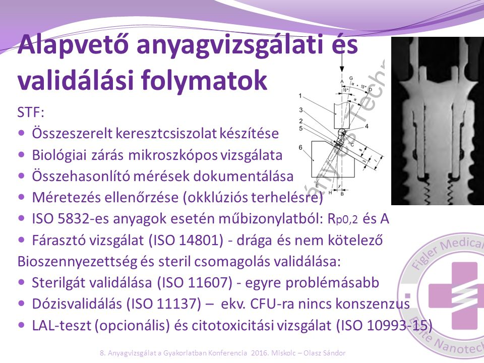 Alapvető anyagvizsgálati és validálási folymatok STF: Összeszerelt keresztcsiszolat készítése Biológiai zárás mikroszkópos vizsgálata Összehasonlító m