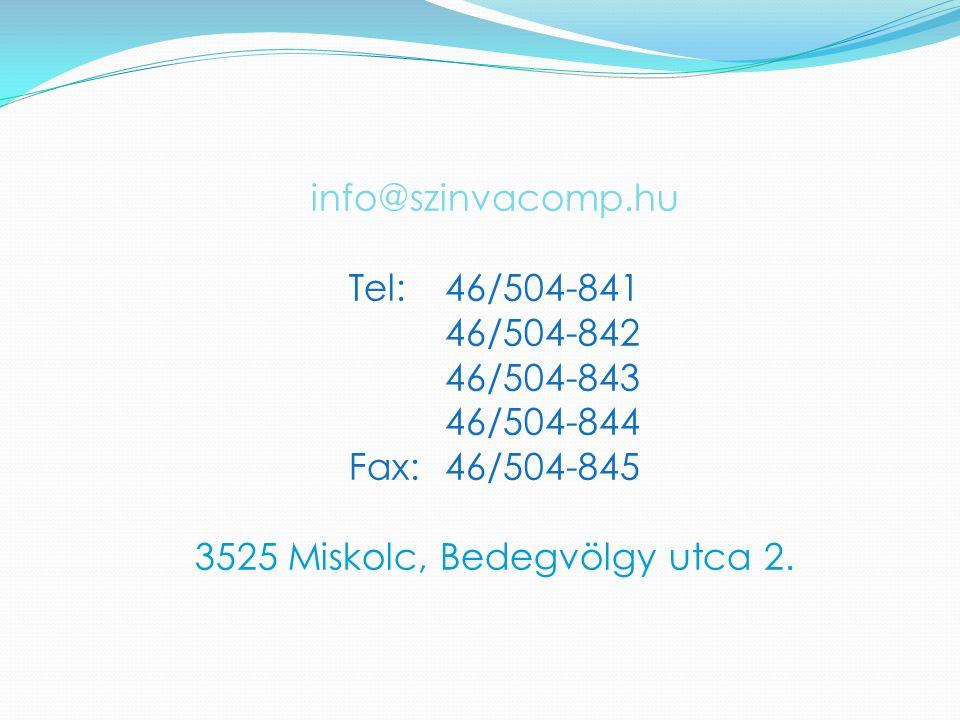 info@szinvacomp.hu Tel:46/504-841 46/504-842 46/504-843 46/504-844 Fax:46/504-845 3525 Miskolc, Bedegvölgy utca 2.