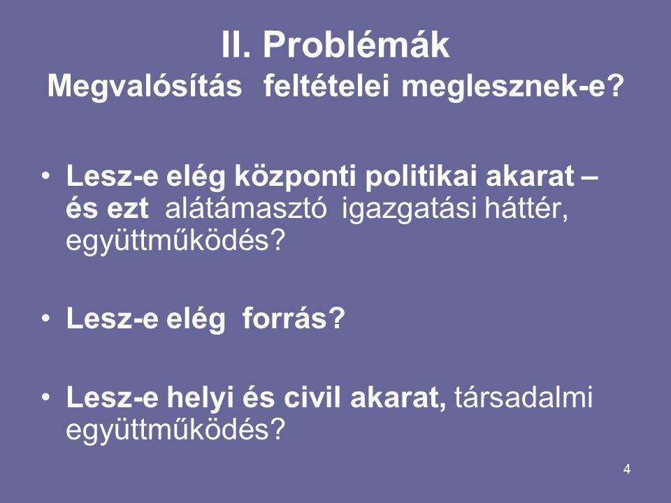 4 II. Problémák Megvalósítás feltételei meglesznek-e.